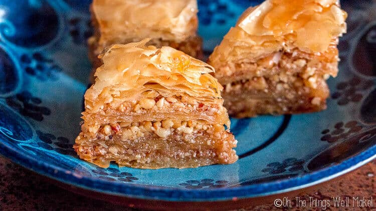 closeup of baklava on a place showing its layers.