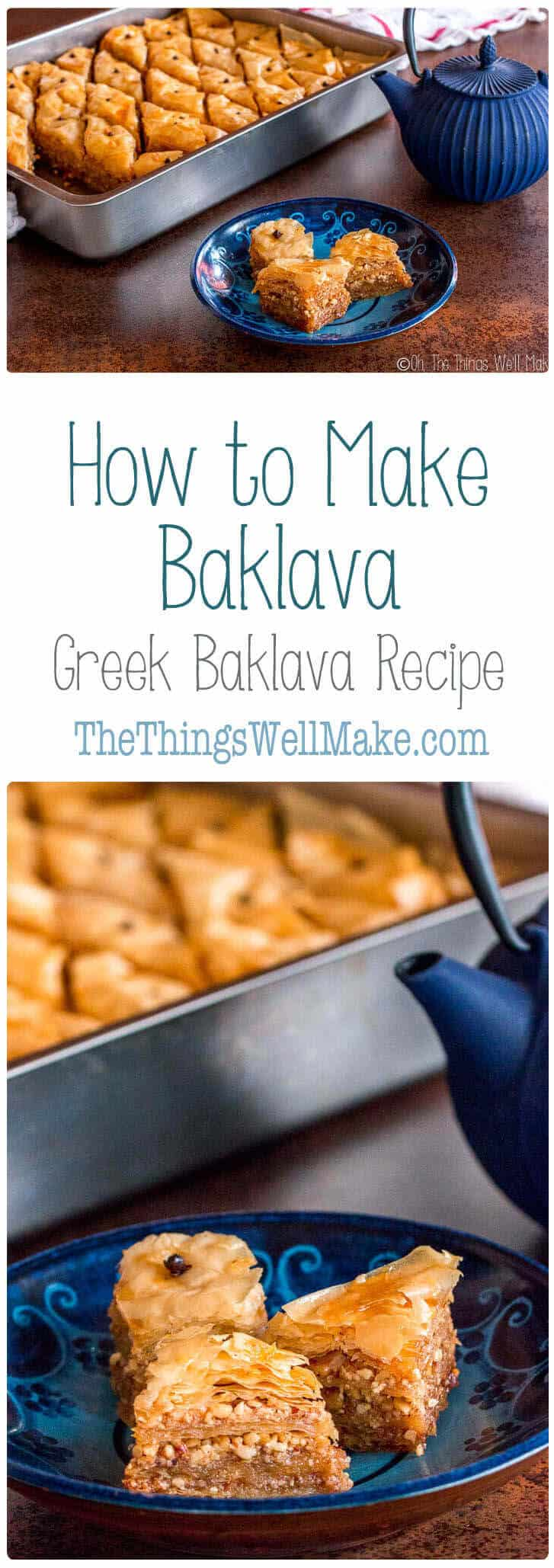 Perfect for the holidays, baklava is a sweet, flaky and impressive looking dessert that is actually simple to make and sure to please your guests. Learn how to make baklava with this Greek Baklava recipe. #baklava #greek #recipes