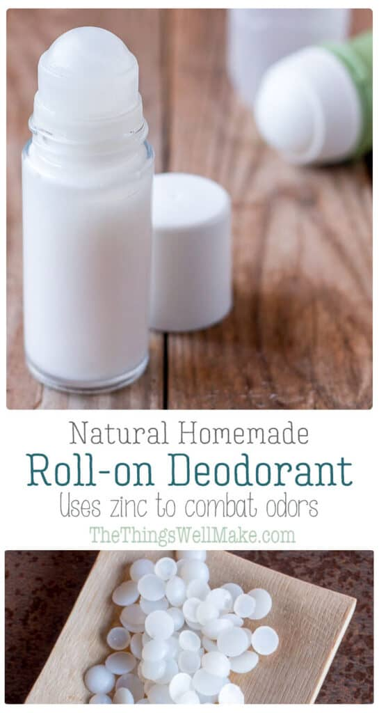 Ditch using deodorants filled with toxic ingredients, and make your own natural, homemade roll on deodorant that is easy to use and glides on smoothly. This recipe uses zinc to naturally combat odors without staining your clothes. #thethingswellmake #naturalskincare #homemadecosmetics #homemade #deodorant #natural #miy