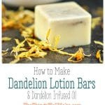 Infused with dandelion to sooth irritated skin, these homemade lotion bars are a convenient, non-messy way to moisturize your skin. #lotionbars #DIY #natural #dandelion #lotion