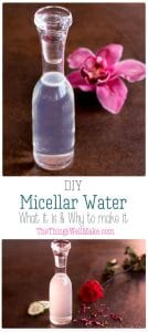 An easy to make, gentle all-in-one cleanser, this DIY micellar water is perfect for those with sensitive skin. Find out what micellar water is, if you should be using it, and how to make your own. #micellarwater #micelles #cleanser #face