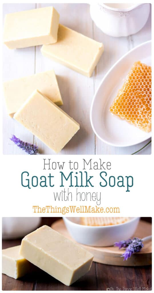 Gentle on the skin, and with a nice, creamy lather, this goat milk soap with honey is one of my favorites. Learn the techniques of making soap with both milk and honey with this recipe. #thethingswellmake #miy #soap #goatmilk #honey #fromscratch #soapmaking #soaprecipes #goatmilksoap #honeysoap