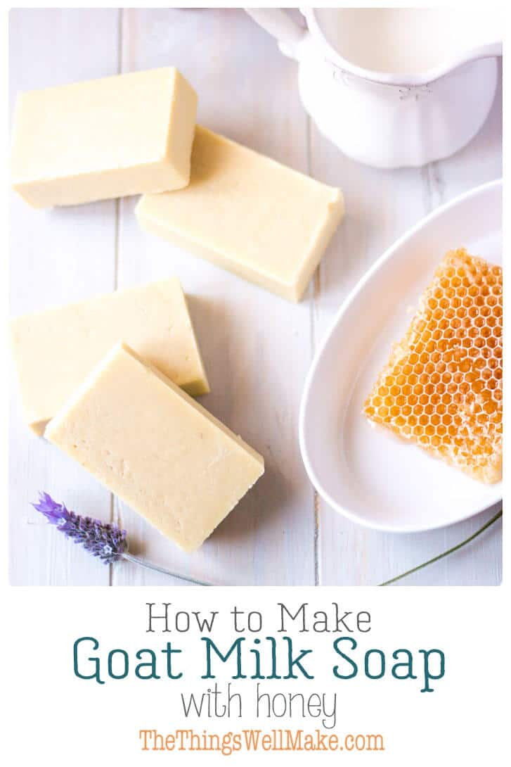 Gentle on the skin, and with a nice, creamy lather, this goat milk soap with honey is one of my favorites. Learn the techniques of making soap with both milk and honey with this recipe. #soap #goatmilk #honey #fromscratch