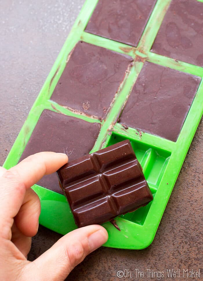 Removing homemade chocolate from the