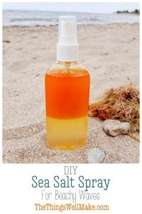 Get those tousled, beachy waves, or the texture that you get in your hair after a day at the beach, but without the damage, using this DIY sea salt spray. It's customizable to suit your hair type and the ingredients you have on hand. #seasalt #seasaltspray #hairspray #beachywaves #naturalhaircare