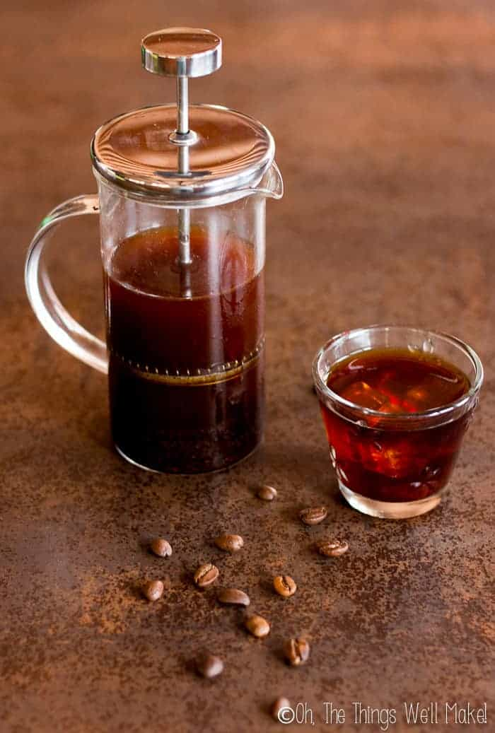 Cold brew coffee being made in a french press