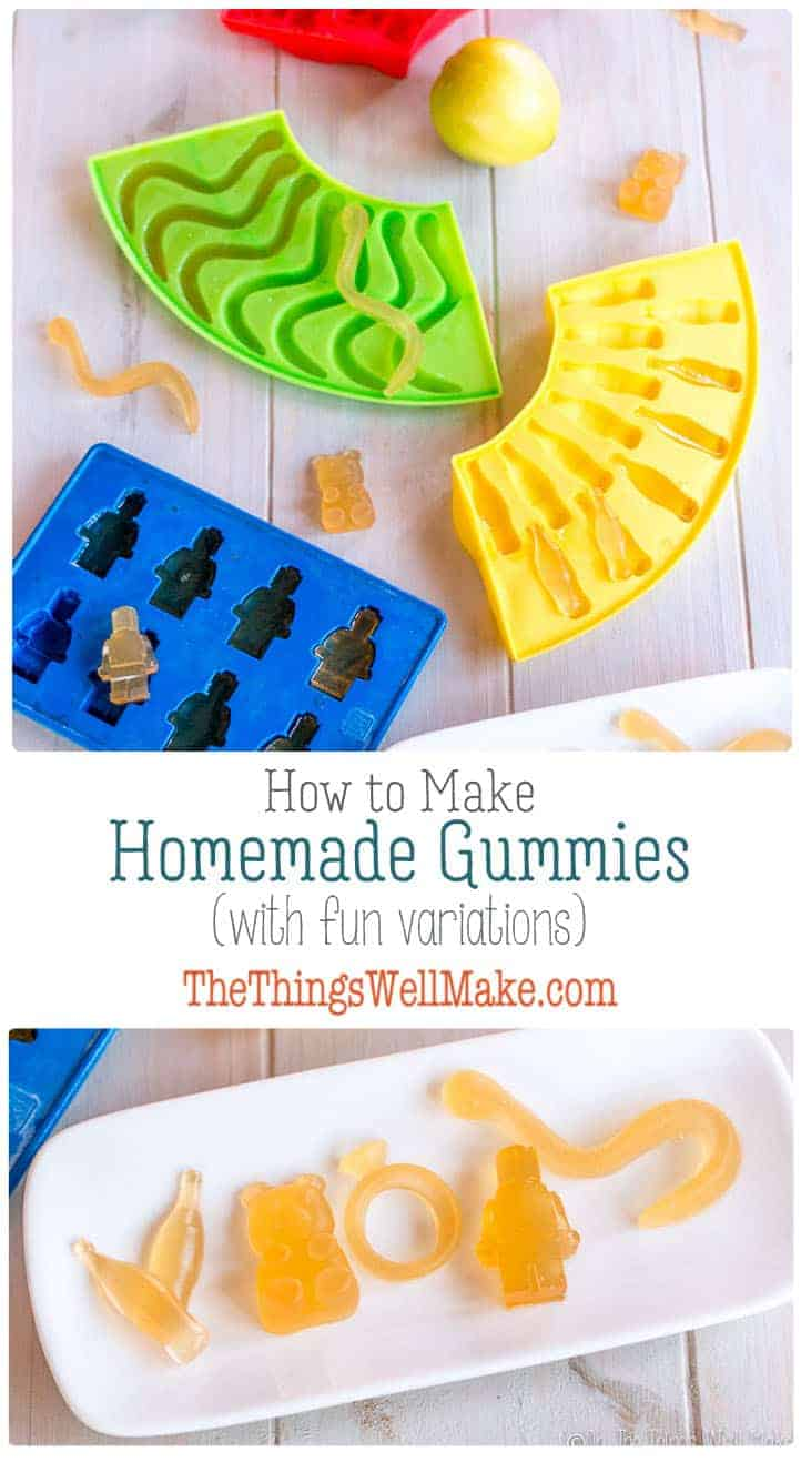 Making homemade gummies using fruits, juices, non-dairy milks, or even kombucha is a fun activity for kids and a healthy alternative to candy for any age. #thethingswellmake #miy #gummies #gummytreats #gummybears #healthyrecipes #healthyeating #healthykidssnack #snacks #gelatin #fruit