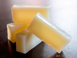 An alternative to glycerin soaps made with lard or tallow, this vegan glycerin soap recipe uses coconut oil instead to make a hard bar of soap with lots of lather and great cleansing ability. #glycerin #soap #vegan