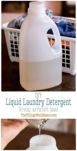Save money while you avoid the synthetic fragrances and other additives in commercial laundry detergents by learning how to make a DIY laundry detergent at home. #thethingswellmake #MIY #laundry #detergent #surfactants #wash #laundrydetergent #washing #naturalcleaning #naturalcleaningproducts #naturalsurfactants #cleaning #stainremover