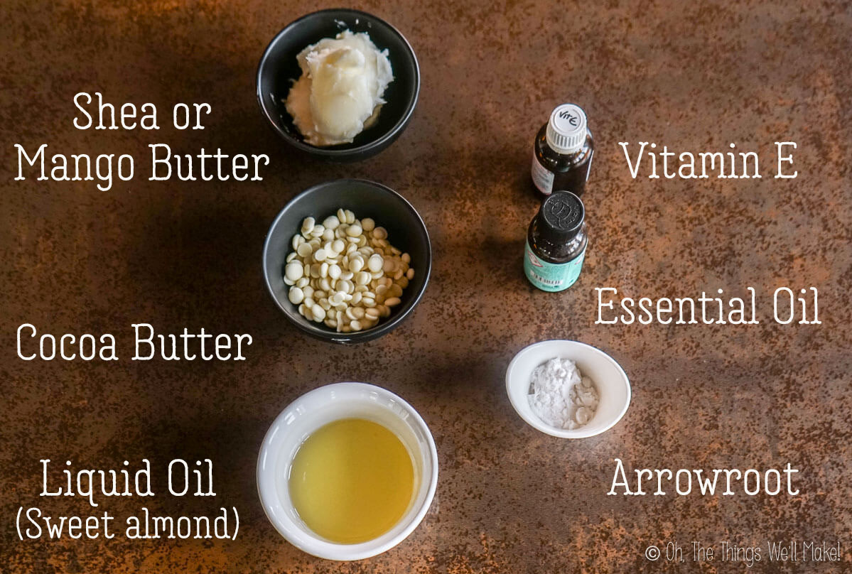 ingredients for a whipped body butter