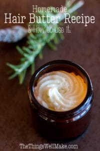 Perfect as an intensive conditioner for dry and damaged hair,this hair butter recipe is simple to make and nourishing to many hair types. It can be used as a hair mask, a hot oil treatment, or to smooth hair and give it some shine. #thethingswellmake #miy #hairbutter #naturalhaircare #haircare #haircarecurly #haircareremedies #hairconditioner