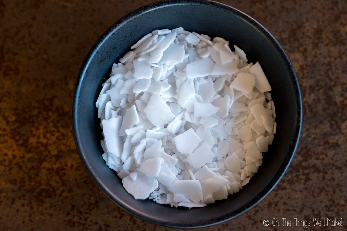 Overhead view of potassium hydroxide flakes