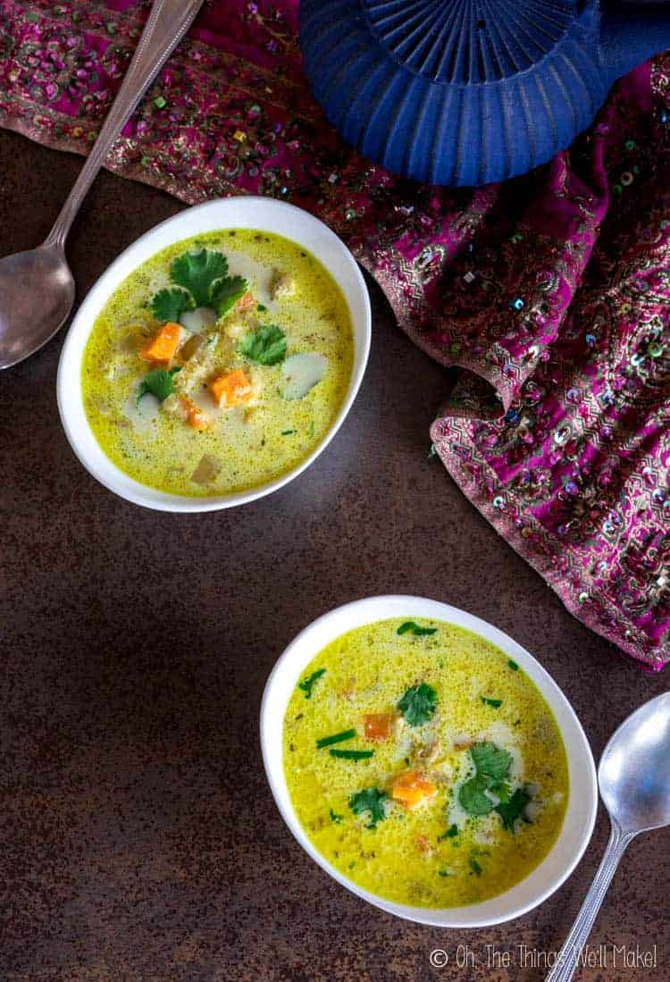 Two bowls of Chicken Mulligatawny soup.