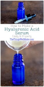 Restore humidity to the skin, making it look plumper and more radiant, all while reducing fine lines by using a DIY hyaluronic acid serum that is super simple to make and is great for every skin type. #thethingswellmake #hyaluronicacid #serum #naturalskincare #DIYskincare #antiagingskincare #skincareantiagingproducts #nontoxicbeauty