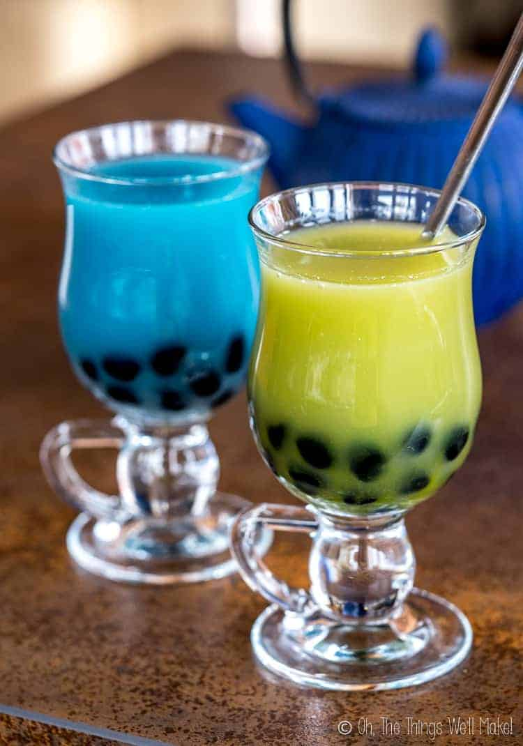 Blue and green bubble tea with homemade black boba.