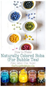 Making your own black boba or tapioca pearls in a vibrant rainbow of colors is actually quite easy to do naturally, and it's a lot of fun! You can also make colorful bubble tea that is beautiful and tastes great. By making your own boba, you can avoid the unwanted ingredients in the store-bought ones, you can make them exactly how you want them, and they are very quick and easy to cook to the perfect texture. Plus, they're gluten free, paleo and vegan! #thethingswellmake #miy #bubbletea #boba
