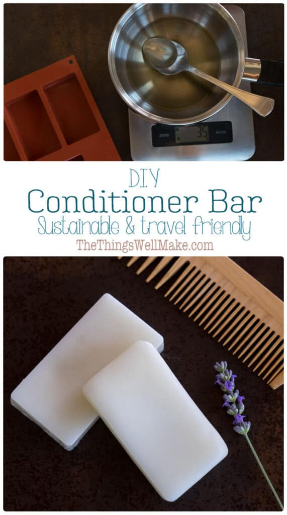 Sustainable and travel-friendly, a conditioner bar is a convenient way to keep your hair healthy, conditioned, and tangle-free. Learn how and why to make your own conditioner bar. #thethingswellmake #conditioner #naturalhaircare #zerowaste #sustainableliving #nowaste