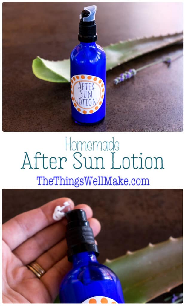 Soothe irritated skin and replenish its moisture after sun exposure with this homemade after sun lotion with aloe and other calming ingredients that nourish the skin. #thethingswellmake #miy #aftersun #naturalskincare #lotion #homemadelotion #aloevera #sunburnrelief #dryskin