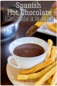Thick and creamy, chocolate a la taza, or Spanish hot chocolate, isn't just your ordinary hot chocolate. Its thicker consistency is perfect for dunking churros or sweetbreads, or for eating with a spoon. #churros #chocolate #chocolatealataza #spanishrecipes #chocolateconchurros #chocolateaddicts #chocolatelovers #chocolaterecipes #thethingswellmake #miy