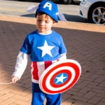 Boy wearing a homemade Captain America costume