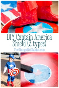 Making a superhero costume couldn't be complete without the right props! Find out how to make a Captain America shield easily by repurposing inexpensive items. #captainamericashield #captainamerica #supeherocostume #thethingswellmake #halloween #captainamericacostume #homemadecostume #costumeideas #diycostume #halloweencostume #DIYSuperheroCostume
