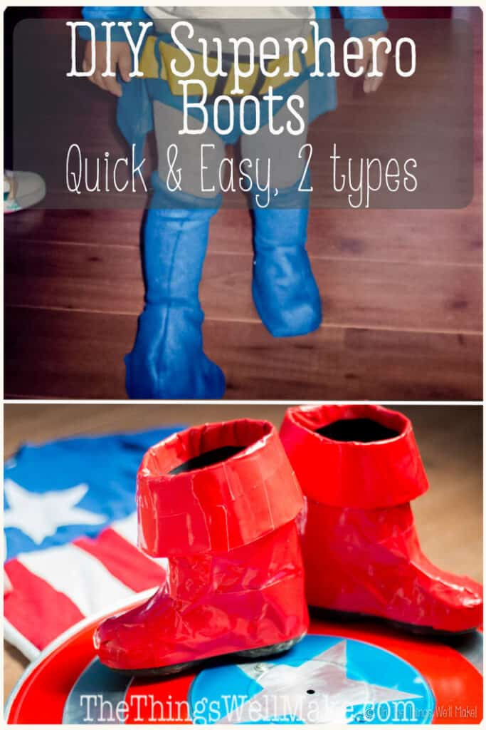 No homemade superhero costume would be complete without some DIY superhero boots. I'll show you two quick and easy methods to make costume boots in a flash. One uses duct tape and the other uses polar fleece. #halloween #costumeideas #homemadecostume #diycostume #halloweencostume #SuperheroCostume #SuperheroBoots #DIYSuperheroCostume #DIYCostumeBoots #thethingswellmake #miy