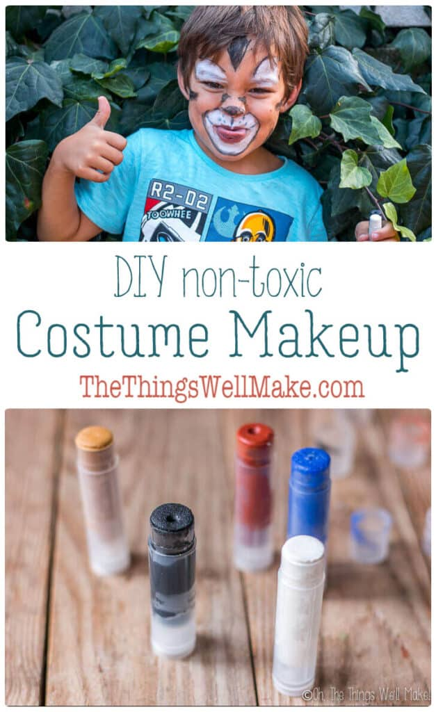 Avoid the toxic chemicals in store-bought Halloween makeup by making your own homemade costume makeup. It's a fun project that can be easily customized to suit your costume and skin type. #halloweenmakeup #diymakeup #homemademakeup #thethingswellmake #miy #costumemakeup #naturalskincare #nontoxicmakeup #halloweenideas