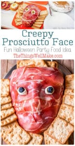 A healthier alternative to sugar-laden treats, this creepy prosciutto face makes a creative antipasto platter and is a fun addition to any Halloween party food lineup. #Halloween #Halloweenfood #thethingswellmake #miy #antipasto #creepyHalloweenfood #halloweendinner