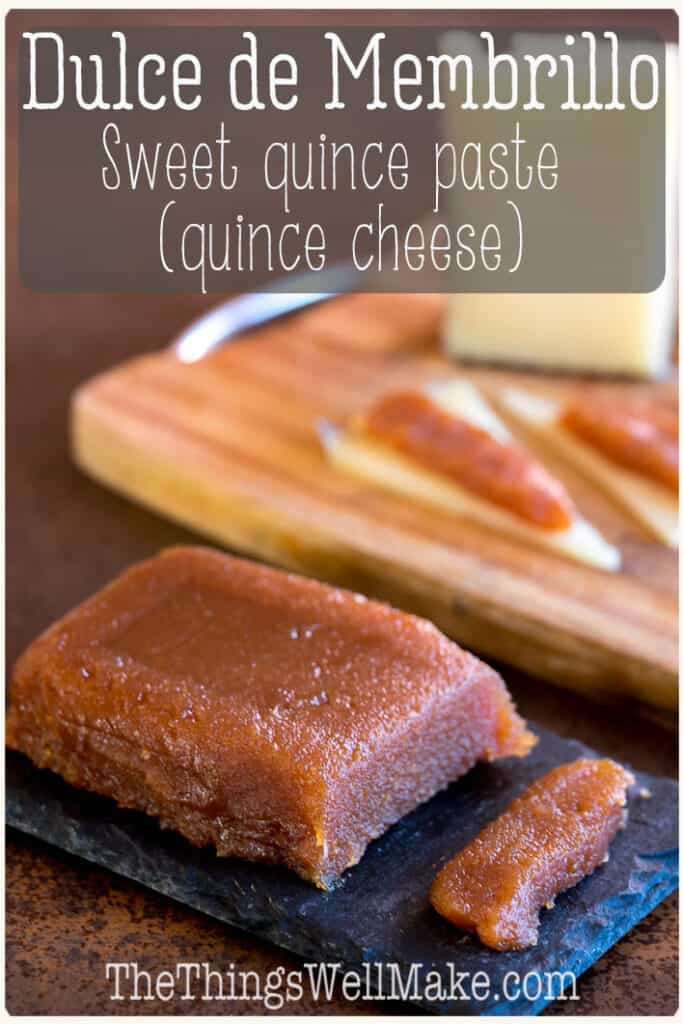 Sweet, yet slightly tangy, dulce de membrillo is a thick, sliceable jelly made from the quince fruit. It is also known as quince cheese, or quince paste, and it pairs deliciously with cheese. #quincerecipes #preserves #fallrecipes #thethingswellmake #miy #preserves #membrillo #fallrecipes
