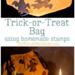 Upcycle an old t-shirt into a DIY trick or treat bag in a matter of minutes and then let the kids help decorate it with homemade craft foam stamps. We decorated ours with ghosts and pumpkins on one side and a jack-o'-lantern on the other side using fabric paint. #halloween #trickortreat #halloweencrafts #jackolanterns #upcycle #fabricstamp