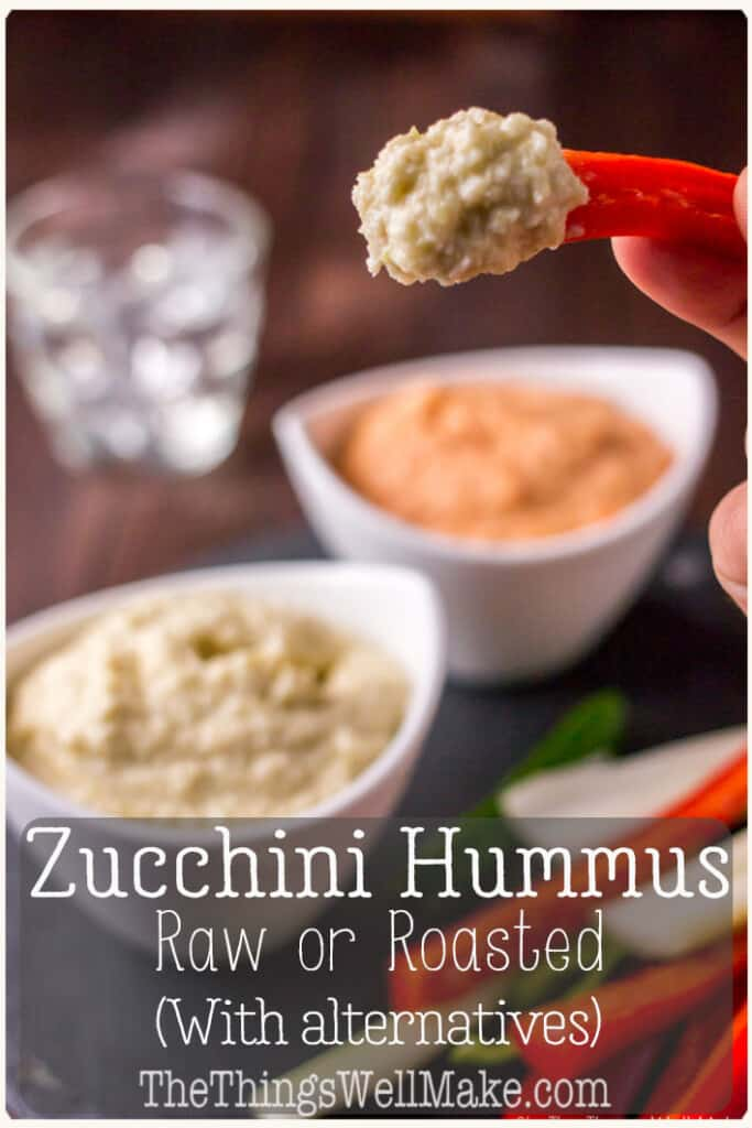 Reminiscent of baba ganoush or hummus, zucchini hummus is a delicious yet healthy dip that is very versatile. It can be made raw or roasted and can be made in a variety of flavors to suit everybody's taste. Roasted red peppers add color and flavor. This is the perfect healthy snack and is vegan, paleo, and candida diet-friendly. #hummus #hummusrecipe #zucchinihummus #rawfoods #healthysnacks #zucchini #redpepper #vegan #paleo #candidadiet #guthealth #veggies #roastedvegetables #thethingswellmake