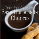 Just as crispy and delicious as their traditional counterparts, these Spanish-style gluten-free churros are also grain-free. #churros #churrosconchocolate #glutenfree #grainfree #thethingswellmake #spanishrecipes #donutrecipes #dessertrecipes #breakfastrecipes