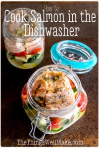 A sustainable way to cook fish to flaky perfection, cooking in your dishwasher makes double use of the heat of the washing process, allowing you to conserve energy. Learn how and why to cook in the dishwasher and what foods work best. A simple salmon recipe for the dishwasher is also included. #sustainableliving #sustainable #nowaste #thethingswellmake #MIY