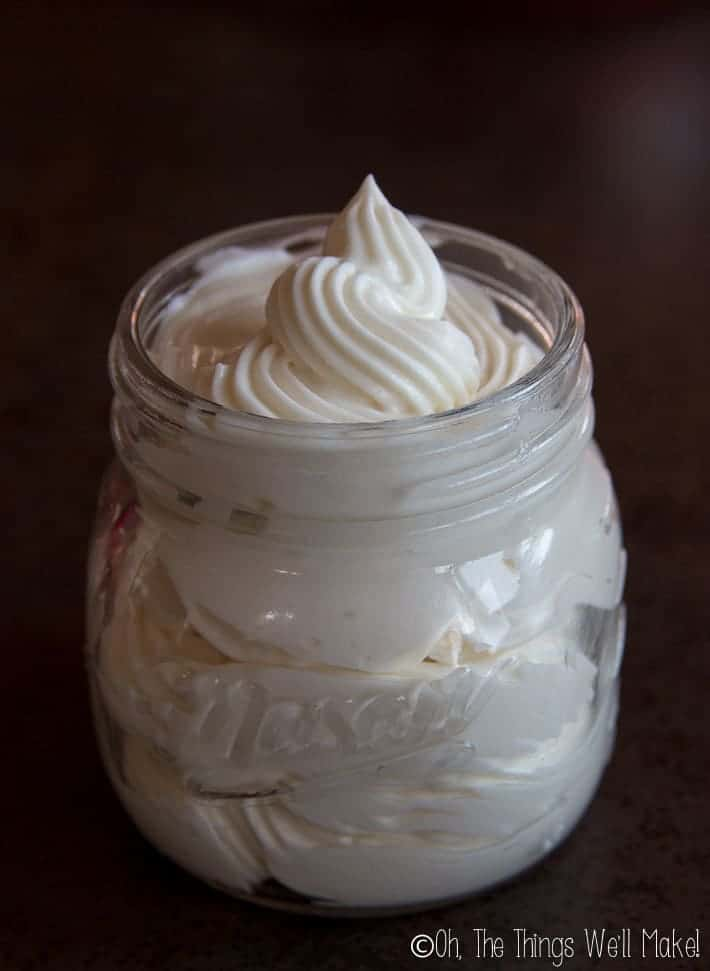 A jar of homemade whipped body butter