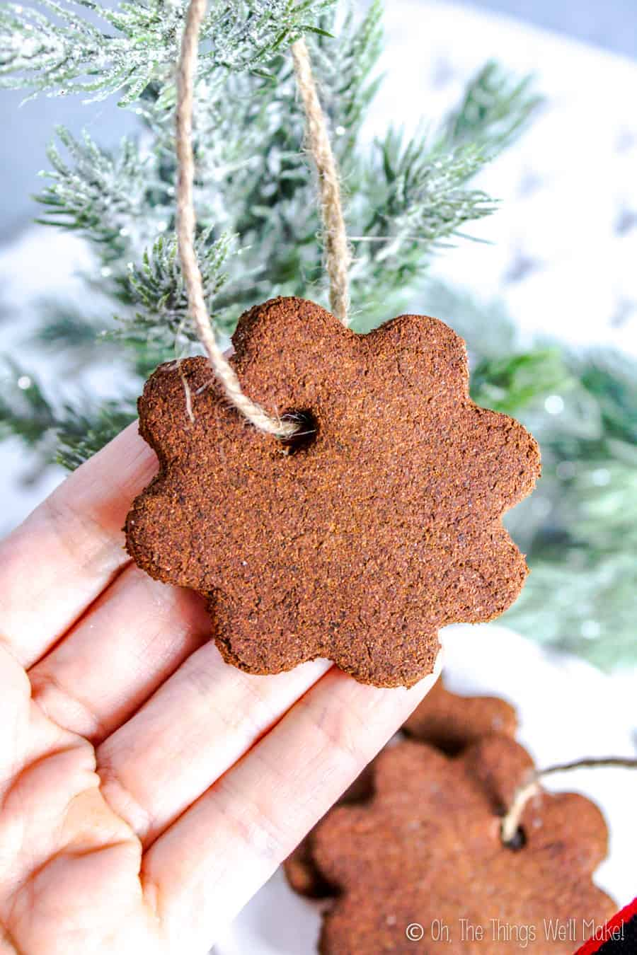 A hand lifting up a flower-shaped cinnamon applesauce ornament hanging on a Christmas tree