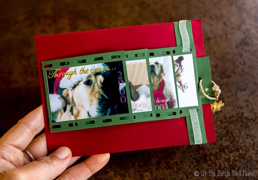"A closed ""waterfall"" style photo Christmas card with dog photos."