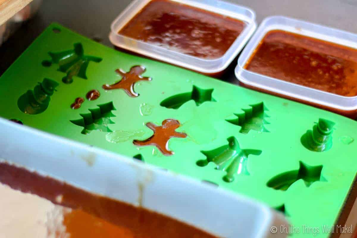 gingerbread soap in different types of molds