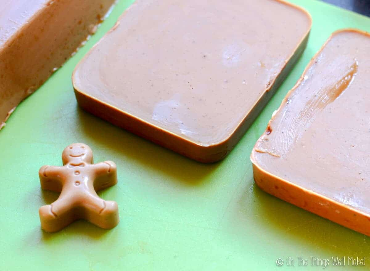 homemade gingerbread soap after it has been unmolded