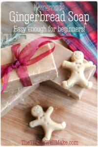 The perfect stocking stuffer, this homemade gingerbread soap is easy enough for beginners to make. It has a lovely fragrance that reminds you of the holidays. #soapmaking #gingerbread