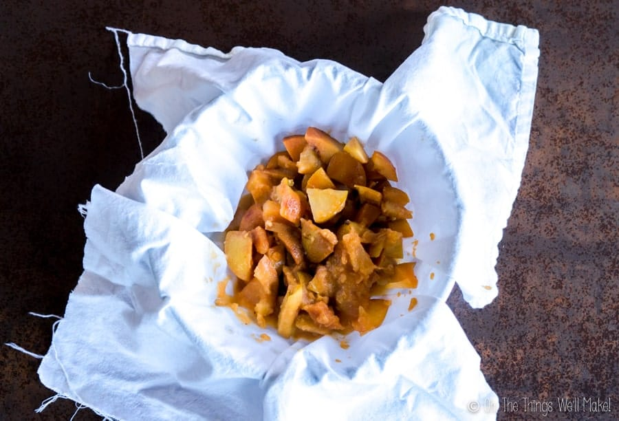 apples that have been strained from homemade vinegar, in a bowl over a cloth, ready for squeezing out more vinegar
