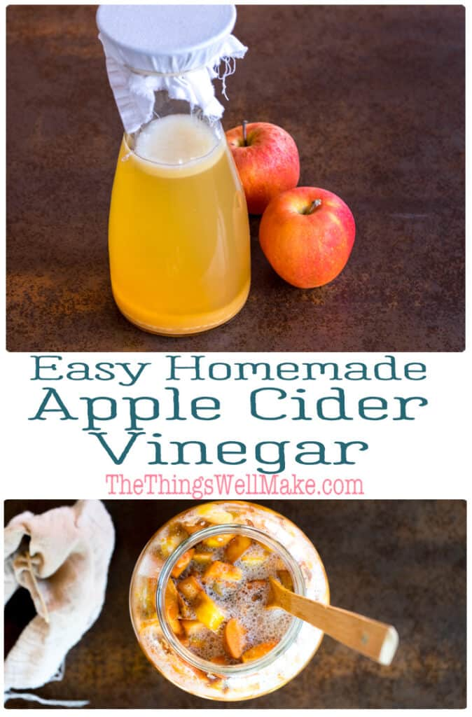 Not only does homemade apple cider vinegar taste better, but it's easy to make and can save you money. Find out why and how to make your own vinegar from apple scraps, apple juice, or whole apples. #applecidervinegar #vinegar #applerecipes #thethingswellmake #miy