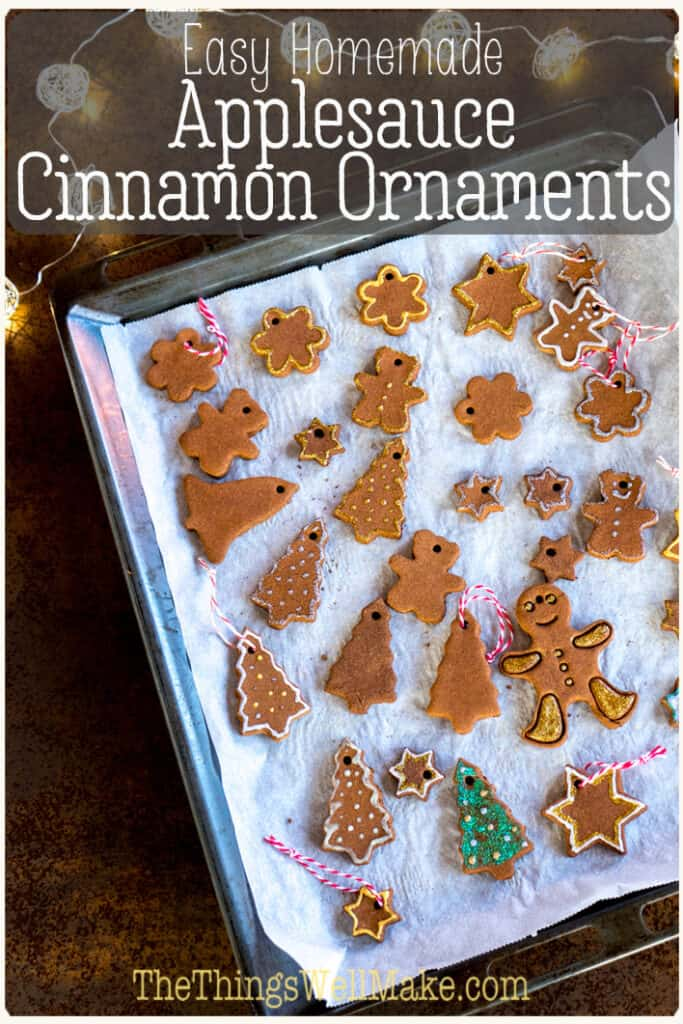 With a lovely scent and a rustic charm, cinnamon ornaments are easy and fun to make. They're a beautiful craft to make alone or with kids. Start a new holiday tradition and make some today! #christmascrafts #homemadeornaments #thethingswellmake #miy #naturaldiy #naturalcrafts