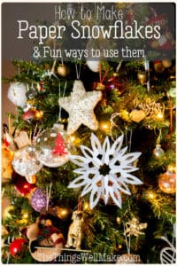Decorate the house or make other fun holiday projects with these simple paper snowflakes. Learn how easy it is to make this classic holiday project and how to use the paper snowflakes in fun new ways. #papersnowflakes #christmascrafts #holidaydecor #christmasdecor