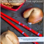 Fun and easy to make, these homemade fortune cookies are also gluten and grain-free. They're the perfect way to get your message to that special someone on Valentine's Day! #fortunecookies #asiancuisine #asianrecipes #valetinesdayrecipes #cookierecipes #thethingswellmake #miy #grainfree #glutenfreedesserts