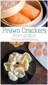 The classic appetizer at Asian restaurants in Europe, prawn crackers are a delicious crispy treat. They're also naturally gluten-free, grain-free, and paleo. And, you can make them completely from scratch at home! #prawncrackers #asianrecipes #thethingswellmake #miy #paleosnacks #grainfree