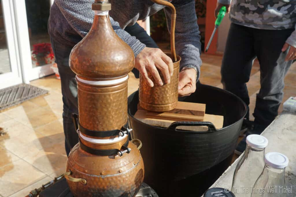 Closeup of a copper still