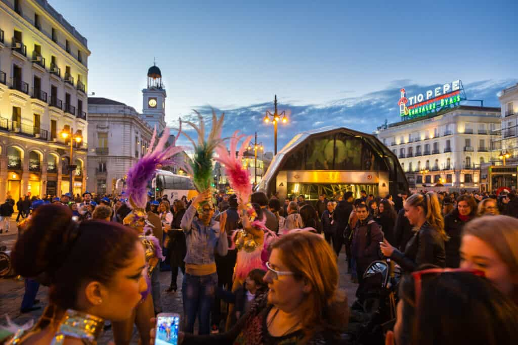 People celebrating in the Puerta del Sol.