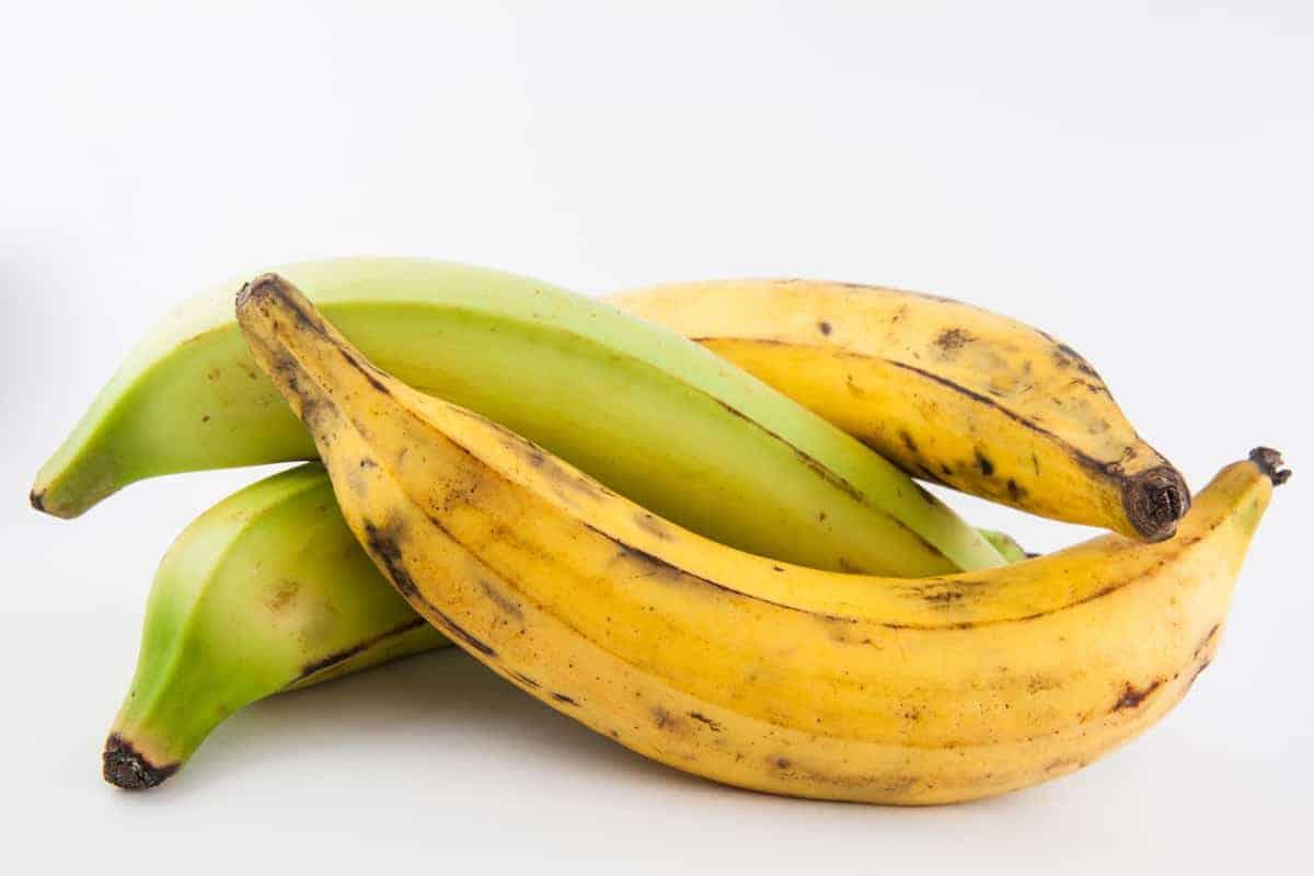 Two yellow and two green plantains on a white background