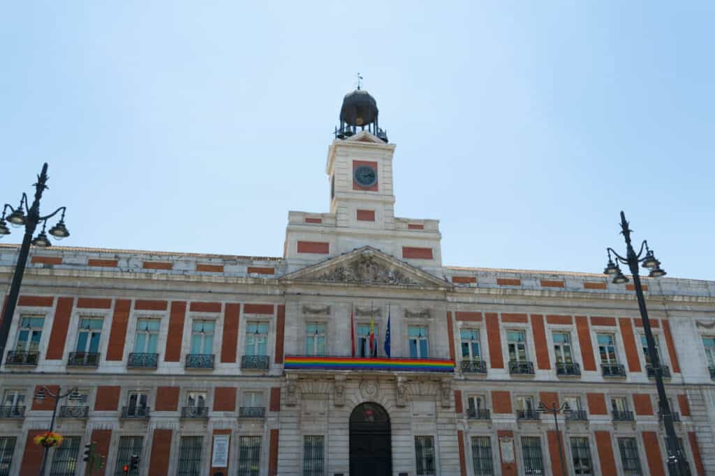 The iconic clock tower of the Puerta del Sol