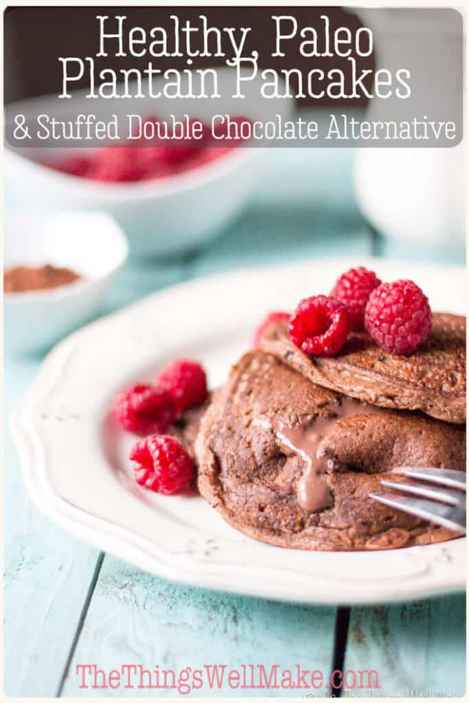 Chocolate paleo plantain pancakes filled with a creamy, chocolate mascarpone filling become delicious stuffed double chocolate grain free pancakes that are easy to make, but sure to impress.